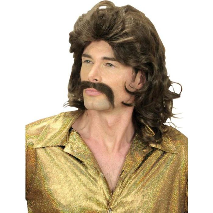Le set comprend une perruque brune mi,longue légèrement ondulée, style disco. Elle est accompagnée dune moustache brune auto,adhésive.