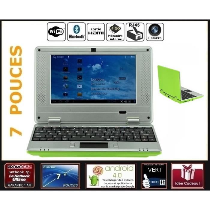 Netbook vert cran 7 pouces android 4 0 wifi 4go hdmi for Photo ecran android 7