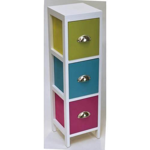 Meuble 3 tiroirs multicolor achat vente petit meuble for Petit meuble de rangement 3 tiroirs