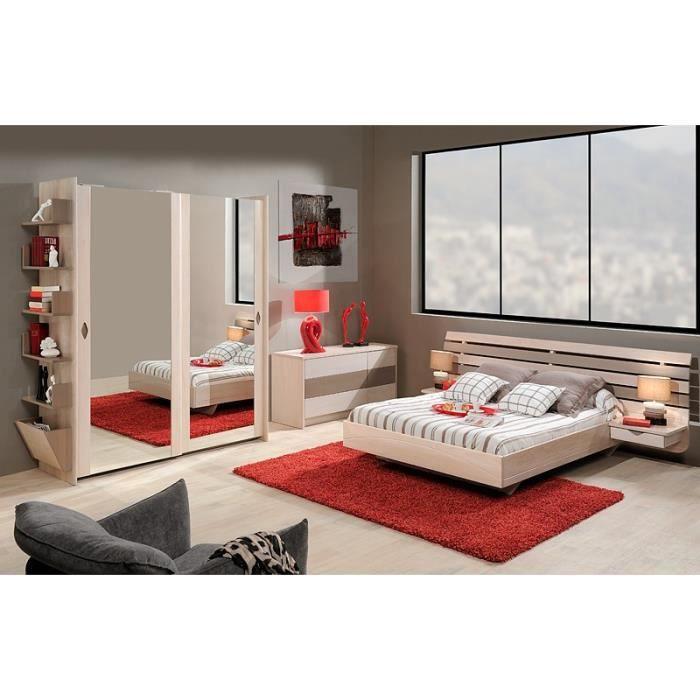lit contemporain saturne bicouleur orme orme gris 140 x 190 achat vente structure de. Black Bedroom Furniture Sets. Home Design Ideas
