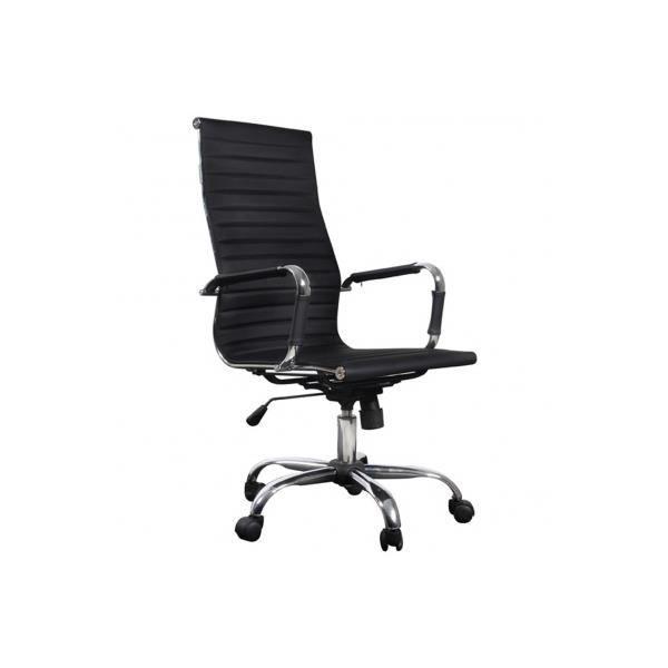 Fauteuil chaise de bureau pu noir dossier haut achat - Fauteuil de bureau haut ...
