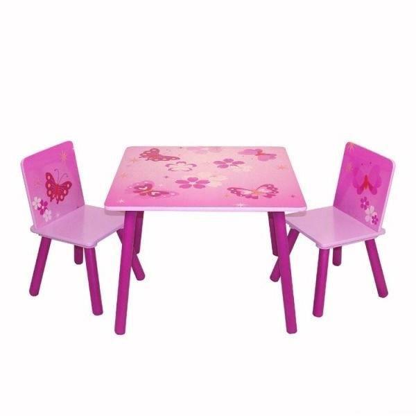 ensemble table+2 chaises papillon rose pour enfant - achat / vente