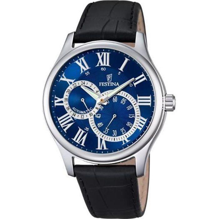 festina f6848 2 montre homme automatique analogique cadran bleu bracelet cuir noir. Black Bedroom Furniture Sets. Home Design Ideas