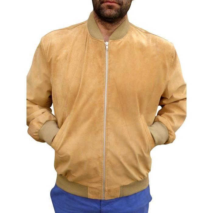 blouson en daim homme aquacuir teddy beige beige achat. Black Bedroom Furniture Sets. Home Design Ideas