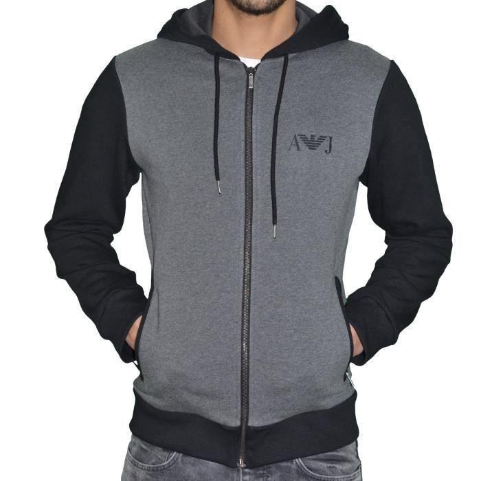 armani jeans veste sweat zipp capuche homme gris gris noir achat vente sweatshirt. Black Bedroom Furniture Sets. Home Design Ideas
