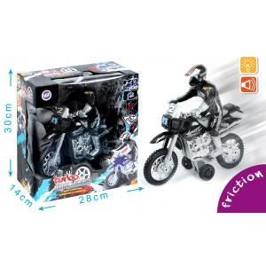 VOITURE - CAMION BTE/ MOTO PILOTE CROSS A FRICTION LUMINEUSE E TMUS