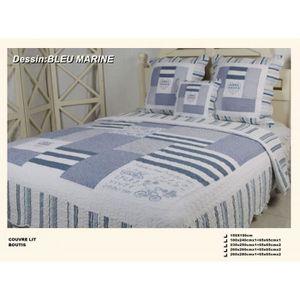 couvre lit bleu marine achat vente couvre lit bleu marine pas cher cdiscount. Black Bedroom Furniture Sets. Home Design Ideas