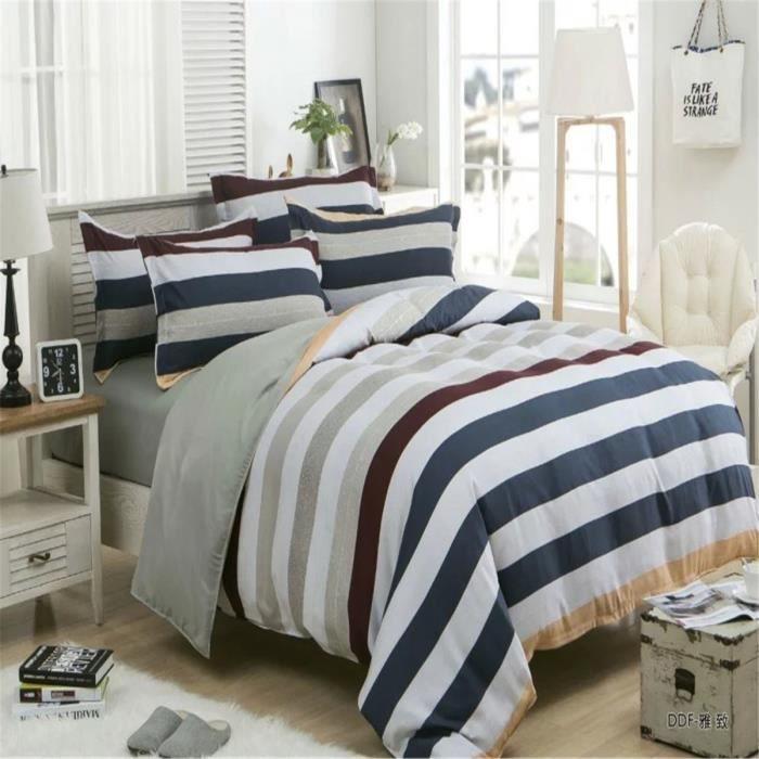 l m rayures noires et blanches parure de couette parure. Black Bedroom Furniture Sets. Home Design Ideas