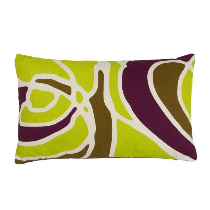 retrofluo motif coussin 30x50 violet vert kaki coton magnifique coussin achat vente. Black Bedroom Furniture Sets. Home Design Ideas