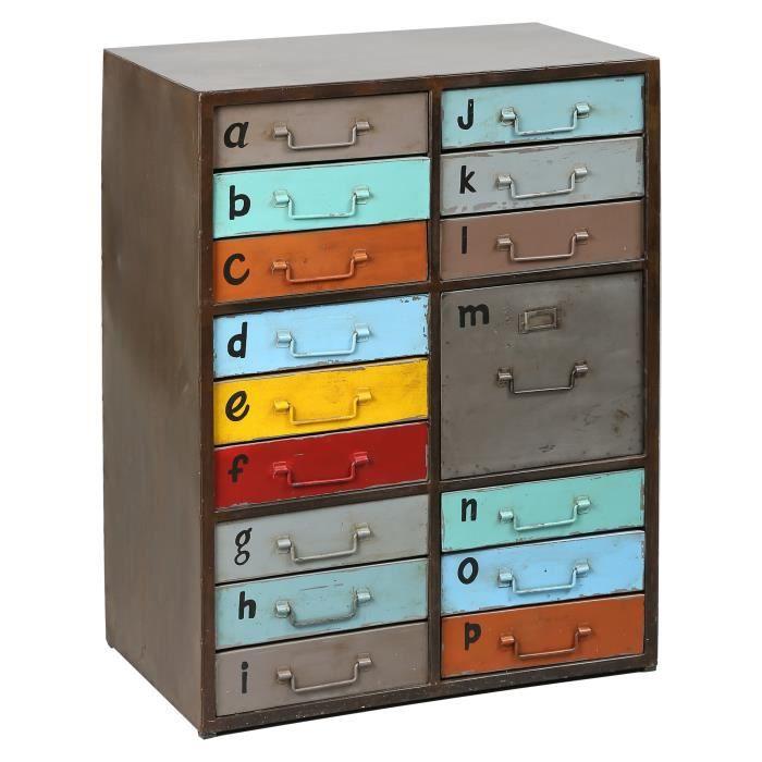meuble de rangement 16 tiroirs en acier multicouleurs