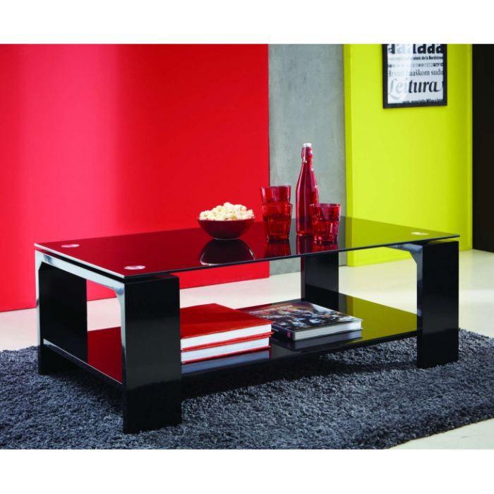Table Basse Rectangulaire En Verre Coloris Noir Achat