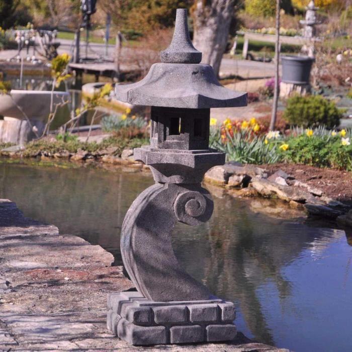 lanterne japonaise en pierre de lave 90 cm lamp achat vente lampion lanterne japonaise en. Black Bedroom Furniture Sets. Home Design Ideas