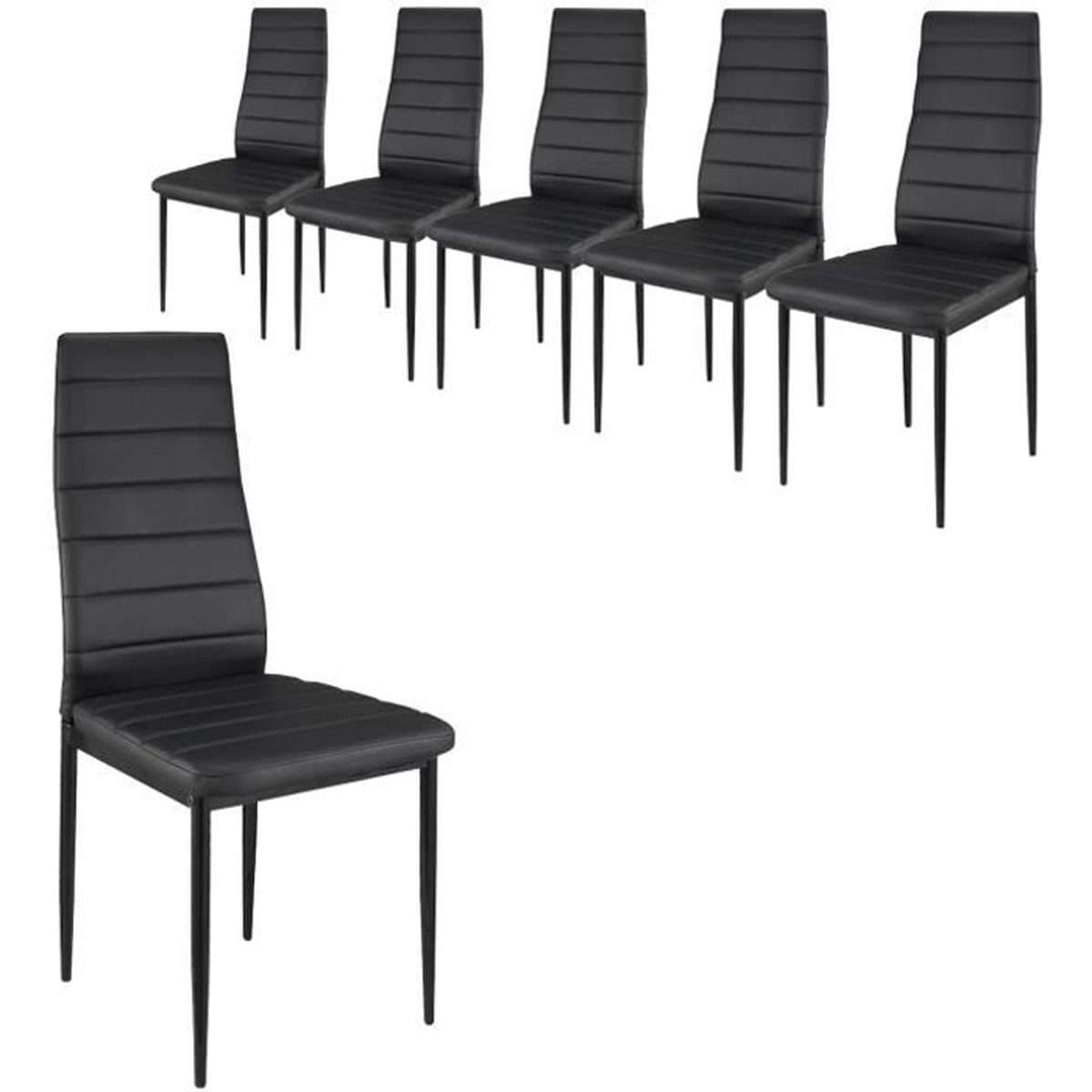 lot de 6 chaises en simili cuir noir achat vente chaise cdiscount. Black Bedroom Furniture Sets. Home Design Ideas