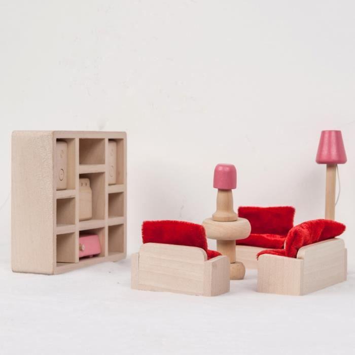 meubles en bois de fashion dolls house miniature 6. Black Bedroom Furniture Sets. Home Design Ideas