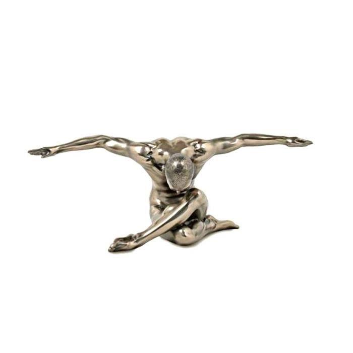 statue homme nu sculture bras ouvert resine laitonn e figure esthetique achat vente statue. Black Bedroom Furniture Sets. Home Design Ideas
