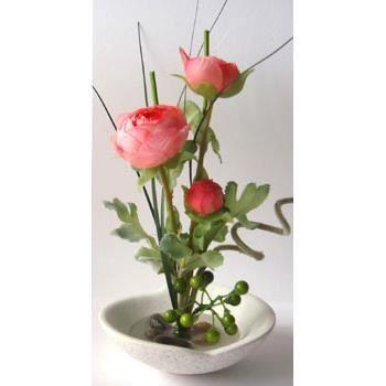 Composition fleur artificielle cam lia et coupelle achat for Vente fleurs artificielles