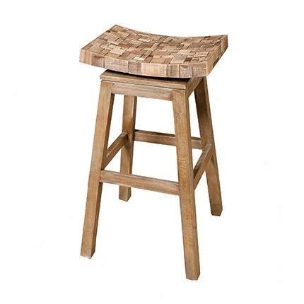tabouret de bar mozaic en manguier recycl le tabouret. Black Bedroom Furniture Sets. Home Design Ideas