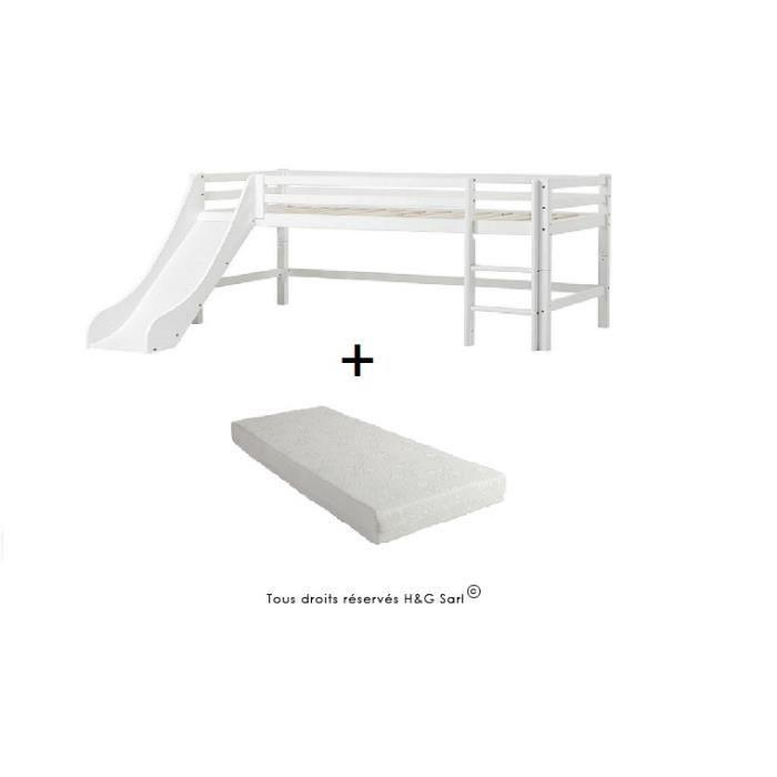 lit mi haut bas blanc avec echelle et toboggan avec matelas 90x200 achat vente structure. Black Bedroom Furniture Sets. Home Design Ideas