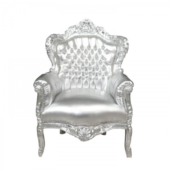 fauteuil baroque argent achat vente fauteuil argent bois h tre polyur thane cdiscount. Black Bedroom Furniture Sets. Home Design Ideas
