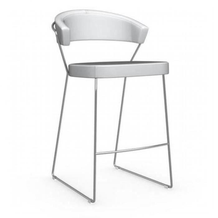 chaise de bar new york design italienne de calligaris en cuir blanc optique achat vente. Black Bedroom Furniture Sets. Home Design Ideas