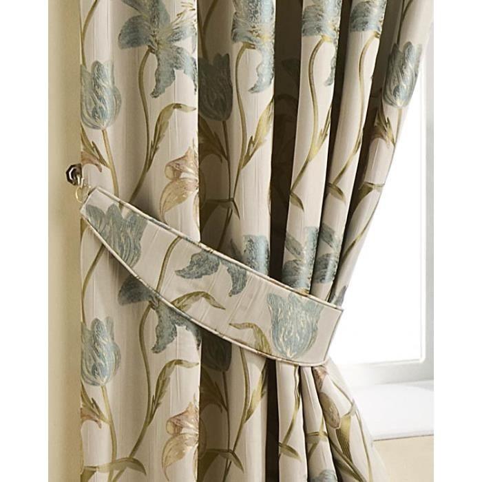 embrasses rideaux beige fleur de lys bleu lot de 2 achat vente rideau cdiscount. Black Bedroom Furniture Sets. Home Design Ideas