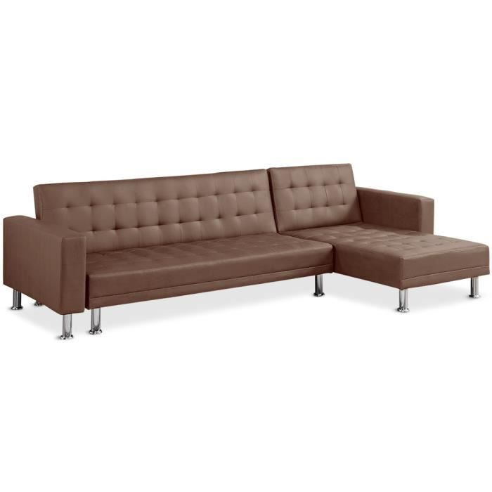 Canap d 39 angle convertible vogue choco achat vente - Canape d angle 2 metres ...