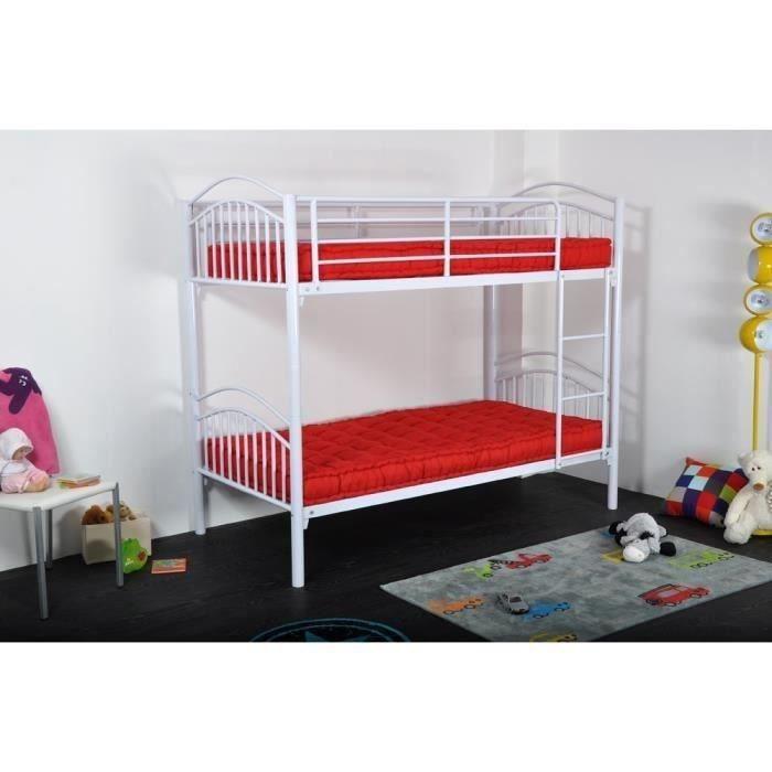 twins lit enfant superposable contemporain en tube d 39 acier laqu s poxy blanc l 100 x l 197 5. Black Bedroom Furniture Sets. Home Design Ideas