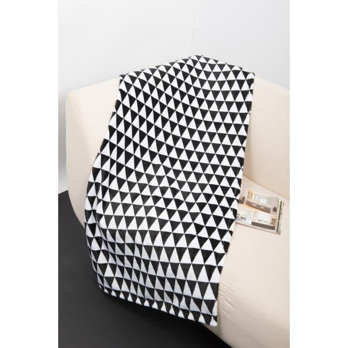 plaid microfibre grand luxe 150x200 cm noir et blanc. Black Bedroom Furniture Sets. Home Design Ideas