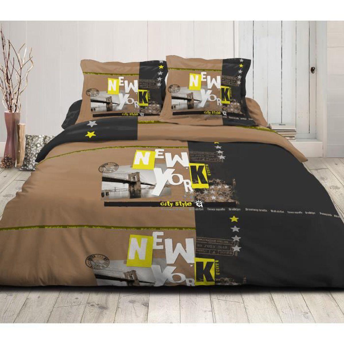 parure de couette new york city style 220x240 100 coton achat vente parure de couette. Black Bedroom Furniture Sets. Home Design Ideas