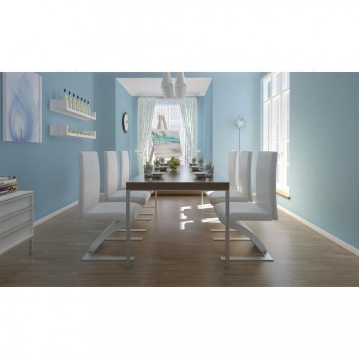 chaises de cuisine et de salle a manger lot de 6 chaises blanche achat vente chaise cdiscount. Black Bedroom Furniture Sets. Home Design Ideas