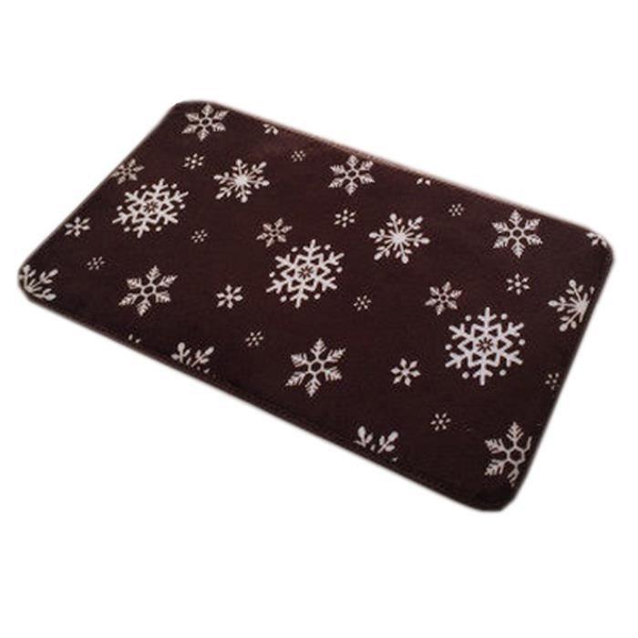 antid rapant paillasson tapis d 39 entr e avec motif flocon de neige brown achat vente. Black Bedroom Furniture Sets. Home Design Ideas