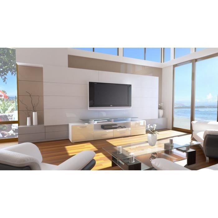 meuble tv design laqu blanc et cr me avec led 194 cm. Black Bedroom Furniture Sets. Home Design Ideas