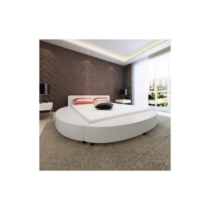 lit rond en pu blanc 180 x 200 cm achat vente structure de lit cdiscount. Black Bedroom Furniture Sets. Home Design Ideas