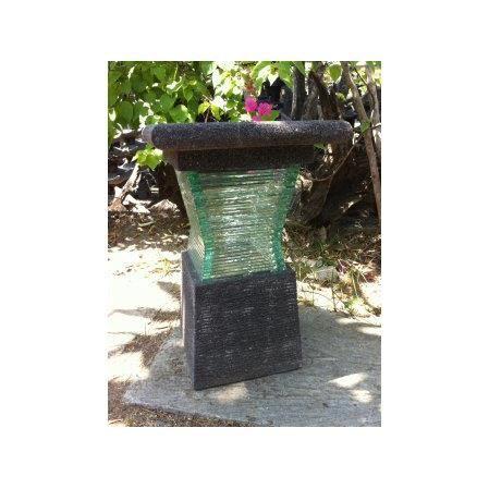 lampe de jardin en pierre de lave et verre design 40cm achat vente lampe de jardin en pierre. Black Bedroom Furniture Sets. Home Design Ideas