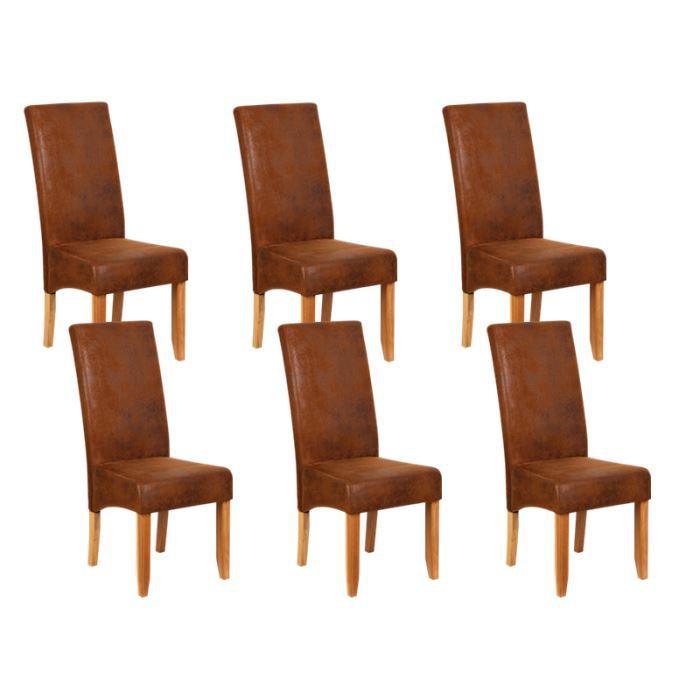 Lot de 6 chaises de s jour couleur marron achat for Chaise de couleur