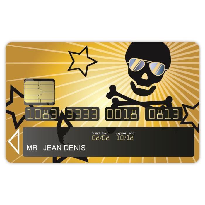 Stickers adh sifs carte bancaire motif t te mort achat - Autocollant carte bleue ...
