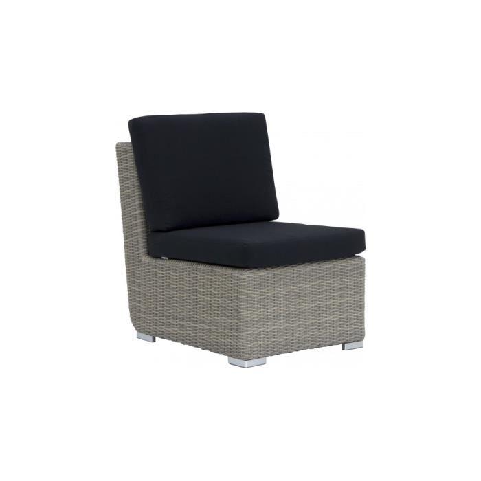 Fauteuil alu et r sine taupe avec coussin noir achat vente fauteuil gris - Fauteuil resine tressee noir ...