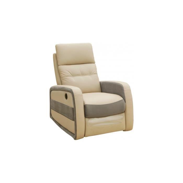 fauteuil relax lectrique marco cuir beige et tissu gris achat vente fauteuil cuir vachette. Black Bedroom Furniture Sets. Home Design Ideas