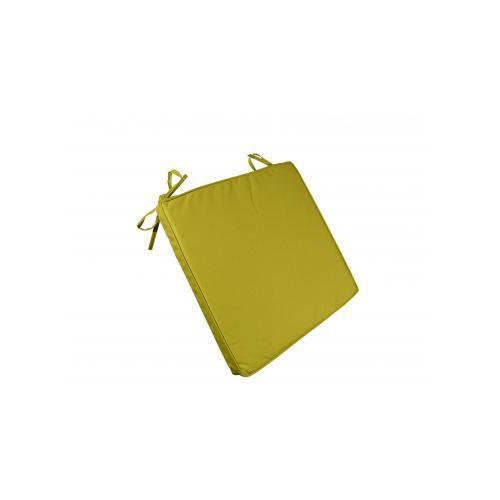 Galette de chaise imperm able vert 40x40x4 achat vente coussin de chaise - Galette chaise exterieur impermeable ...