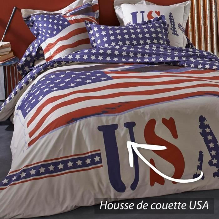 housse de couette 140x200 cm 100 coton usa achat. Black Bedroom Furniture Sets. Home Design Ideas