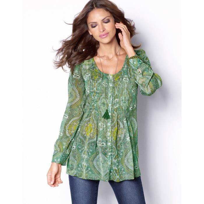 blouse manches longues imprim e vert achat vente chemisier blouse cdiscount. Black Bedroom Furniture Sets. Home Design Ideas