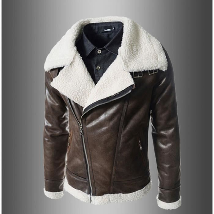 surprise blouson en cuir homme moto manteau hiver jacket. Black Bedroom Furniture Sets. Home Design Ideas
