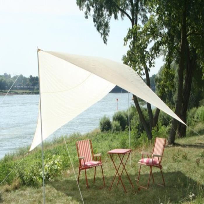 voile d 39 ombrage nomade carr e sable en nylon de 120 grs m 4 x 4 m achat vente voile d. Black Bedroom Furniture Sets. Home Design Ideas