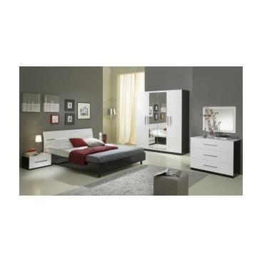 Chambre coucher compl te l on blanc et noir achat vente chambre com - Chambre a coucher cdiscount ...