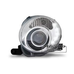 2 phares optique feux diurnes pour fiat 500 chrome achat vente phares optiques 2 phares. Black Bedroom Furniture Sets. Home Design Ideas