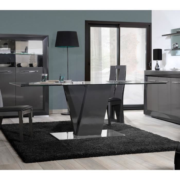 Table de salle manger design brooklyn coloris gris taupe for Table de salle a manger design