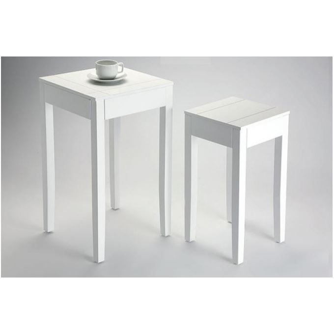 Lot de 2 tables d 39 appoint blanche bolivar achat vente for Petites tables d appoint