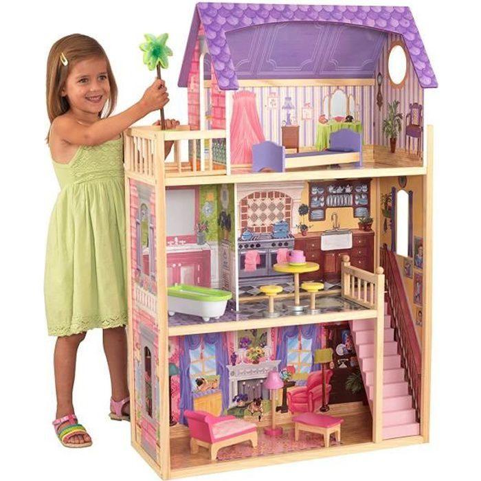 Maison de poup es en bois lelia de la marque kidkr achat - Maison de poupee lundby ...
