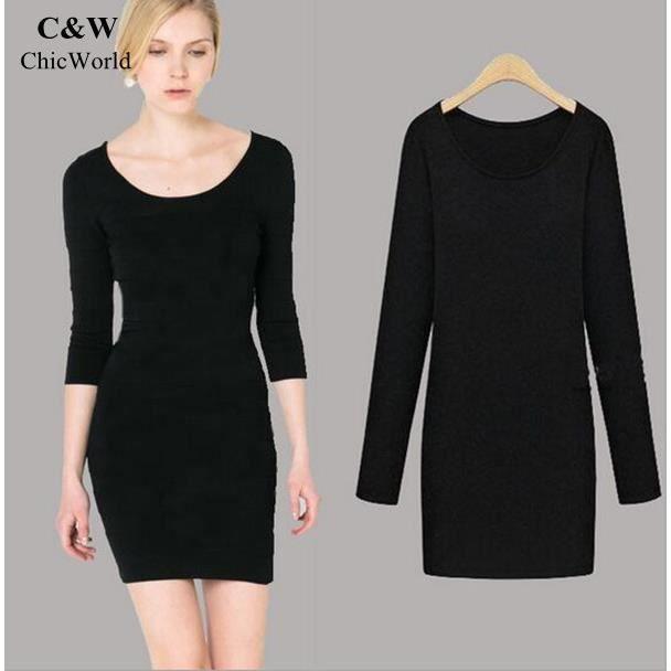 les femmes d 39 hiver robe fourreau couleur unie manches longues robe sexy robe lasticit de la. Black Bedroom Furniture Sets. Home Design Ideas