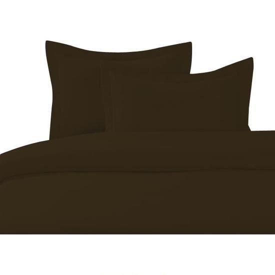 Cdublanc housse de couette 140x200cm chocolat 2 taies d - Tissu pour housse de couette ...
